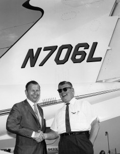 One of Ed Swearingen's early tutors in the airplane business was none other than Learjet founder Bill Lear, right, seen here with his son Bill Lear, Jr.