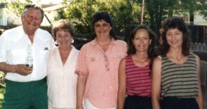 L to R: Ed, Kati, Lark, Shawn and Erin pose for a family picture at a Fourth of July party at Ed's house circa 1990.