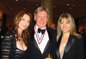 Natasha Pavlovich (left), Harrison Ford and Irena Alexandrova stop for a photo at the Living Legends of Aviation event in Beverly Hills (January 2009). Alexandrova is Pavlovich's business partner on the creation of the WASP documentary.