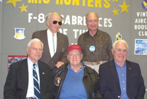 "Back row: Cmdr. W. E. ""Bill"" Hardy, AFAA pres, & Col. Steve Pisanos, a WWII ace who was among the first to fly the P-80 Shooting Star; front row: Lt. Gen. Charles ""Chick"" Cleveland, Lt. Gen. Winton ""Bones"" Marshall & Lt. Col. Henry ""Hank"" Buttelmann."