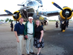 Paul Lips, Doolittle Raider pilot Capt. Bill Bower and Megan Lips in front of a B-25 like the one Bower flew over Japan.