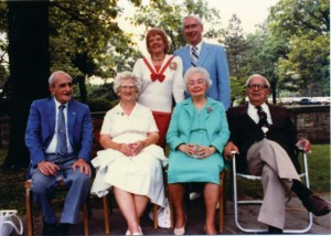 Zoe Dell and Erv Nutter (back row) with Horace Wright (nephew of the Wright brothers) Susan Wright (Horace's wife), Ivonette Wright Miller (niece of Wright brothers; she actually flew with Orville) and Harold S. Miller (Ivonette's husband, a Daedalian).