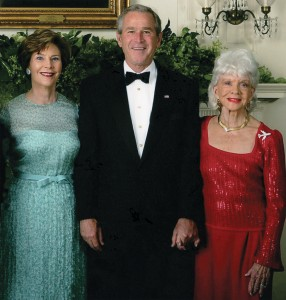 Official White House photograph taken June 25, 2006, in the East Room at the President's Reception. Former First Lady Laura Bush and President George W. Bush honored the tireless efforts and contributions of aviation advocate Zoe Dell Lantis Nutter.