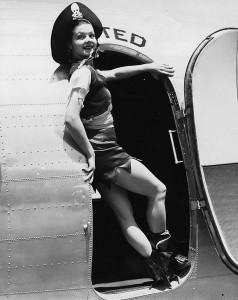 As the World's Fair's spokeswoman, Zoe Dell also promoted the use of commericial airplanes for travelling to the event. Here she poses for United Airlines.