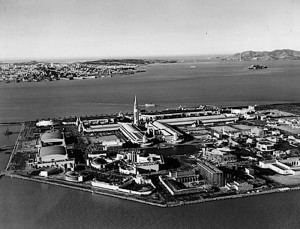 An aerial view of the famous Treasure Island, home of the 1939/1940 World's Fair.