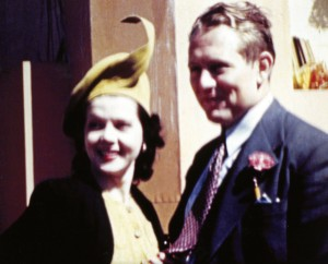 Zoe Dell with friend Art Linkletter after just completing the first televised closed circuit interview.