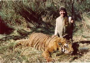 Zoe Dell went on safari in India with her husband, Erv, and his son, Bob. The family went on many safaries together, including some trips to Africa. Seen here in India, Zoe Dell had to defend herself against a tiger that attacked from the tall grasses.