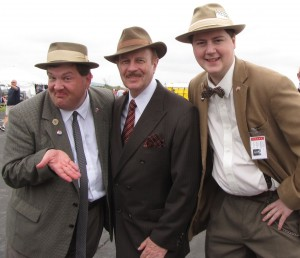 World War II reenactors dressed in 1940s garb.  The two men on the left impersonated comedians Abbott and Costello.
