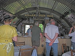 An interior view of the Spider Web Bar, a reproduction of a behind the lines facility.