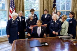 President Barack Obama with WASP pilots Elaine Danforth Harmon, Bernice Falk Haydu and Lorraine H. Rodgers after signing a bill to award a Congressional Gold Medal to the WASP in the Oval Office on Wednesday, July 1, 2009.