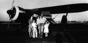 This family photo shows George Priester, his wife and three children. Priester bought this Beechcraft Staggerwing shortly after purchasing Palwaukee Airport.
